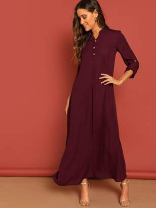 Shein Roll Up Sleeve Buttoned Half Placket Maxi Dress