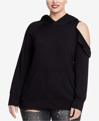 Rachel Roy Trendy Plus Size Cold-Shoulder Hooded Sweatshirt