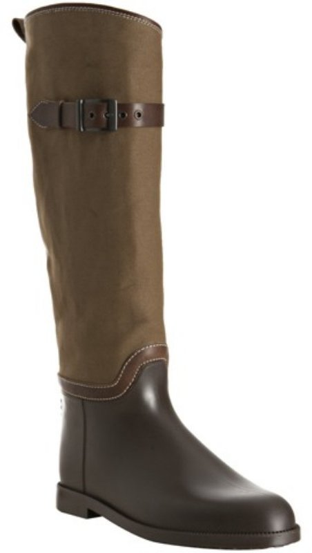 Chloe brown canvas and rubber tall boots