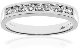 N. Naava Women's 18 ct White Gold Channel Set Half Eternity Ring, H/SI Certified Diamonds, Round Brilliant, 0.33ct - Size J