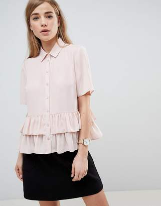 Asos Design Short Sleeve Soft Shirt With Double Ruffle Hem