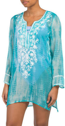 Embroidered Tunic Swim Cover-up