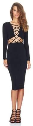 Sunrain Sexy Clubwear Dress Cross Straps Front Long Sleeve Bodycon Bandage Dress Black L