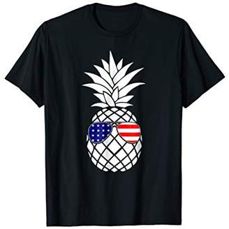 Patriotic Pineapple T-Shirt 4th July Glasses American Flag