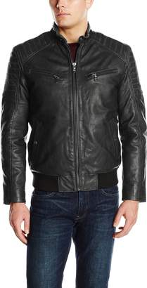 Ungaro Emanuel by Men's Rugged Lamb Leather Bomber Jacket