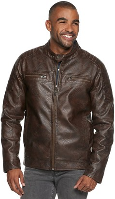X-Ray Xray Men's XRAY Slim-Fit Washed Faux-Leather Moto Jacket