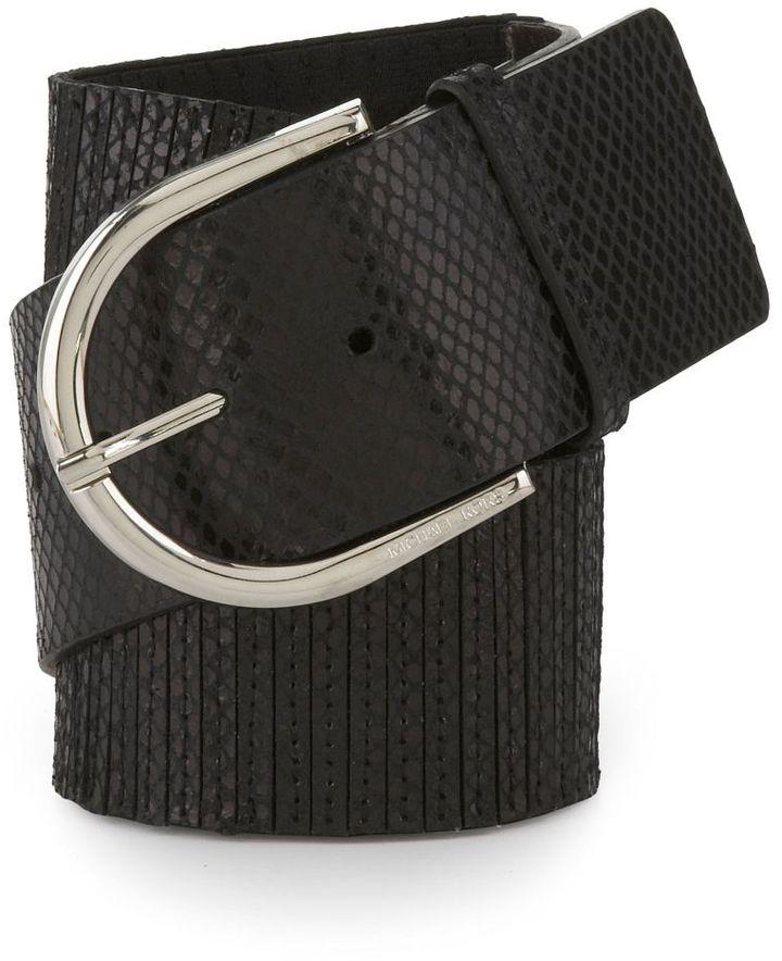 Michael Kors Python-Detail Wide Stretch Belt