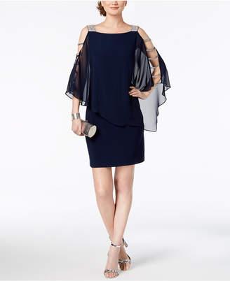 MSK Petite Embellished Chiffon-Overlay Dress
