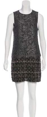 Dolce & Gabbana Lace-Paneled Shift Dress Grey Lace-Paneled Shift Dress