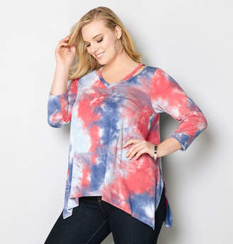4e9b8f77329 at Avenue · Avenue Tie Dye Cutout Sharkbite Top