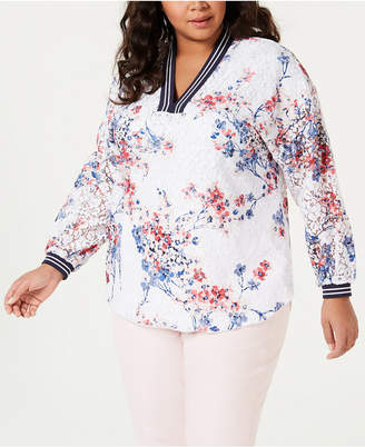 7ce00481f Tommy Hilfiger Plus Size Long-Sleeve Floral Peasant Top