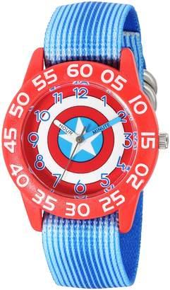 Marvel Boy's 'Captain America' Quartz Plastic and Nylon Automatic Watch, Color: (Model: W003216)