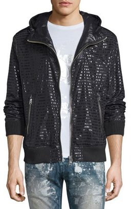 PRPS Shiny Logo-Print Zip-Up Hoodie, Black $425 thestylecure.com