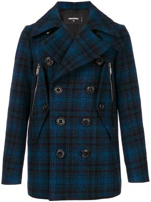 DSQUARED2 checked double breasted coat