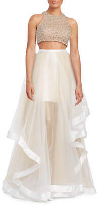 GLAMOUR BY TERANI Two-Piece Ruffle Gown with Beaded Top