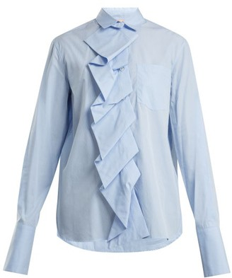 Summa - Ruffled Panel Cotton Poplin Shirt - Womens - Light Blue