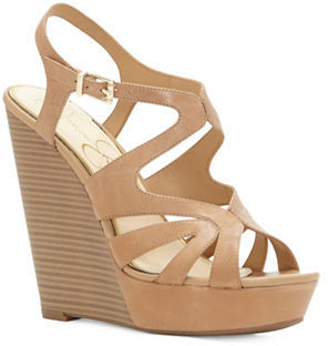 Jessica Simpson Brissah Caged Leather Wedge Platform Sandals $89 thestylecure.com