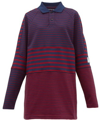 Martine Rose Oversized Striped Cotton Pique Polo Shirt - Womens - Navy Multi