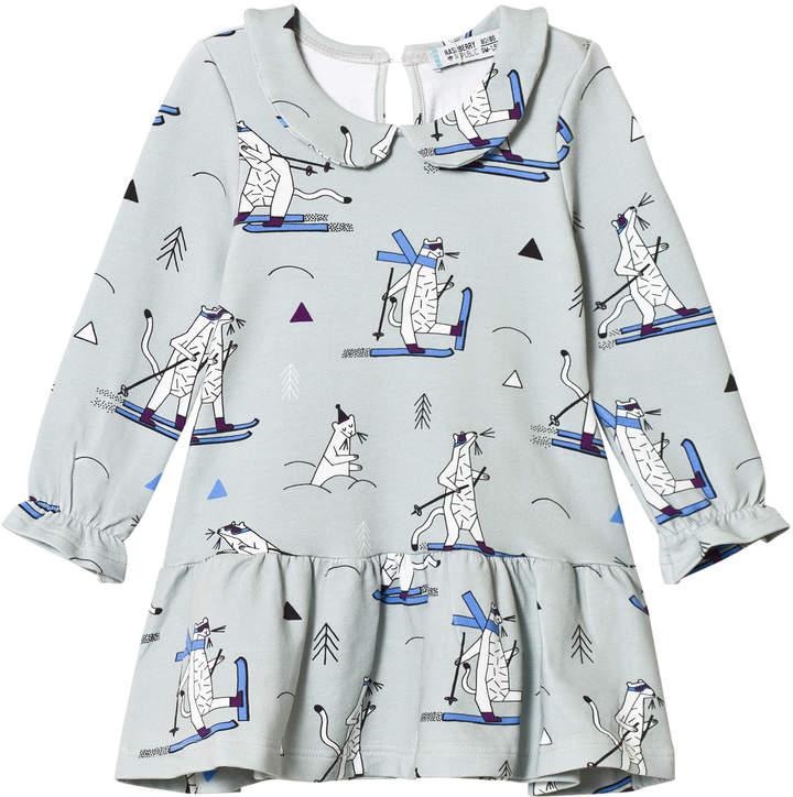 Raspberry Republic Grey Snow Weasel Printed Dress