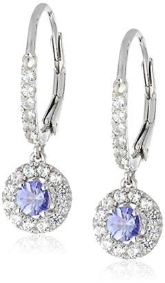 Sterling Silver Tanzanite and Created White Sapphire Dangle Earrings