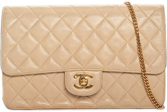Chanel Beige Quilted Lambskin Leather Medium Single Flap Bag