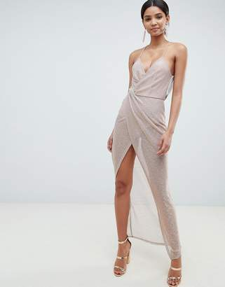Asos Design DESIGN Metallic Drape Maxi Dress
