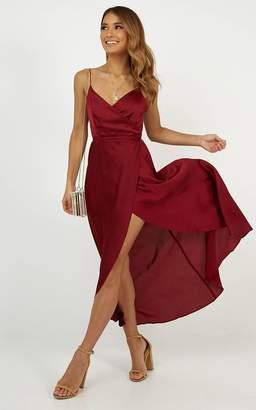 Showpo The Countess Dress In Wine Satin - 12 (L) Dresses