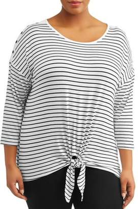 French Laundry Women's Plus Size 3/4 Sleeve Scoop Neck Stripe Top With Buttons