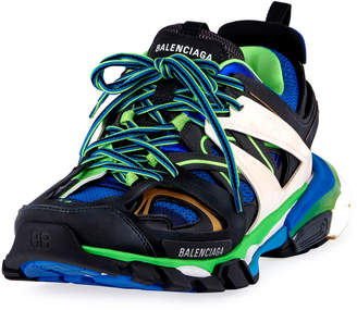 Balenciaga Men's Runway Track Sneakers, Blue/Green