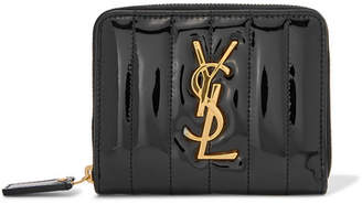 Saint Laurent Vicky Quilted Patent-leather Wallet - Black