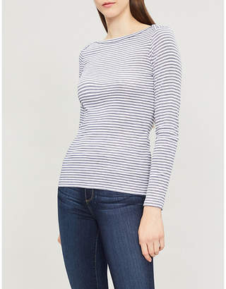 The White Company Striped boat neck jersey-knit top
