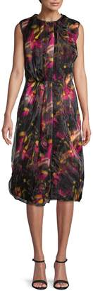 Prada Printed Jersey & Organza Dress