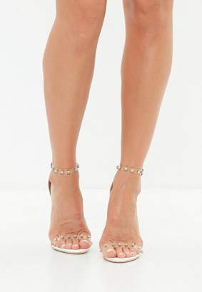 Missguided White Clear Embellished Barely There Sandals