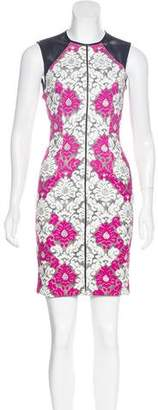 Yigal Azrouel Leather-Trimmed Printed Dress