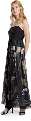 Max Studio satin/chiffon devore long dress
