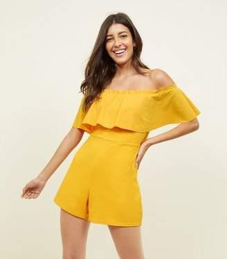 New Look Orange Frill Bardot Neck Playsuit
