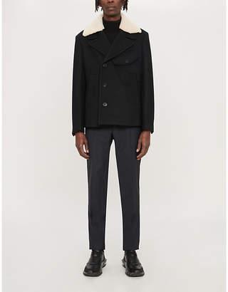 Neil Barrett Shearling-collar wool-blend jacket