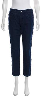 See by Chloe Eyelet-Trimmed Mid-Rise Jeans
