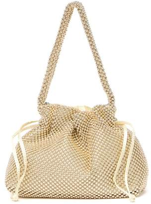 Jessica McClintock Darcey Drawstring Beaded Mesh Crossbody Bag