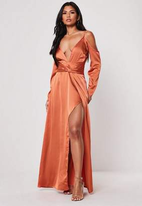 Missguided Rust Satin Cold Shoulder Plunge Maxi Dress