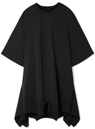 MM6 MAISON MARGIELA Oversized Asymmetric Cotton-jersey Mini Dress - Black
