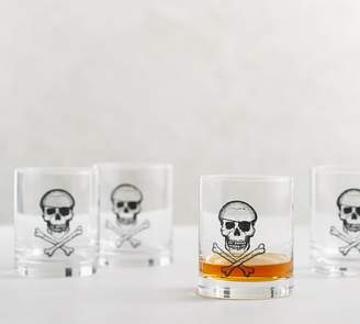 Pottery Barn Skull & Crossbone Double Old Fashioned Glass