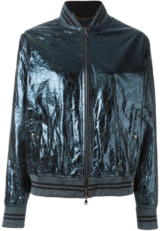 Diesel Black Gold cracked effect bomber jacket
