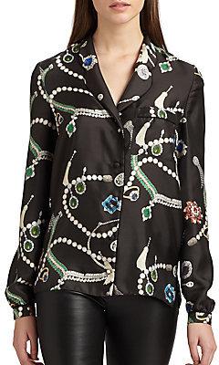 Peter Som Silk Jewel Print Pajama Blouse