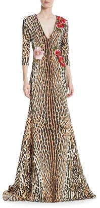 Neiman Marcus Nk32 Naeem Khan Leopard & Floral V-Neck Trumpet Gown
