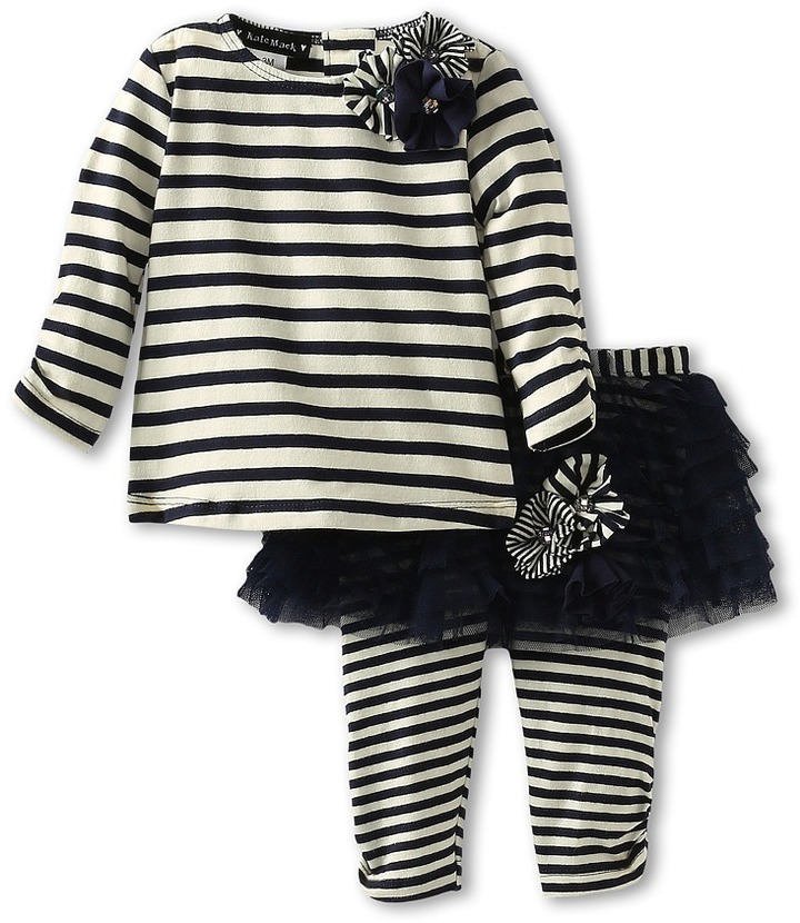 Kate Mack Poodle In Paris Tee Tutu Legging Set (Infant) (Navy Blue) Girl's Sets