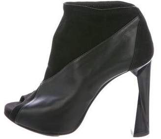Pierre Hardy Leather Peep-Toe Ankle Boots