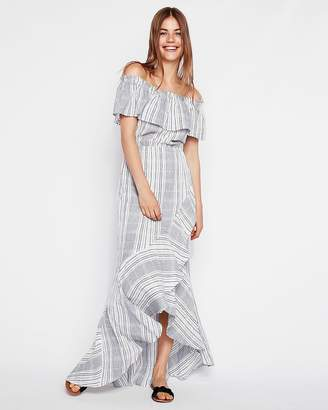 Express Plaid Ruffle Off The Shoulder Cotton Maxi Dress