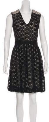 Yigal Azrouel Leather-Trimmed Lace Dress