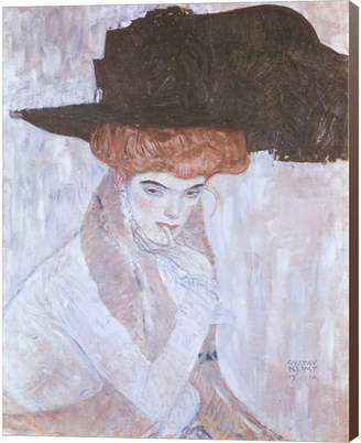 Gustav Metaverse Woman With Black Feather Hat By Klimt Canvas Art